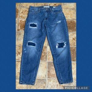 Bullhead Boyfriend Ripped Ankle Blue Jeans 1